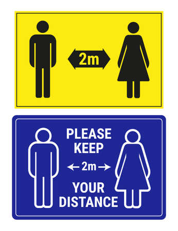 Illustration pour 2 social distance signs, vector illustration. Please keep your distance 2 meters yellow and blue banners, man and woman icons. - image libre de droit
