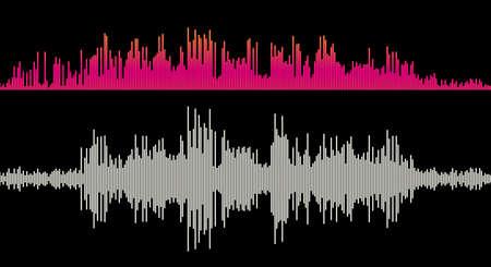 Illustration pour Music sound wave amplitude. Equalizer bars. Flat style vector illustration. - image libre de droit