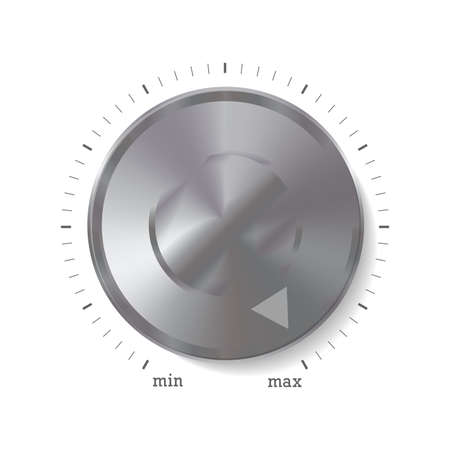 Illustration for Volume button, music knob with metal aluminium or steel, chrome texture. Vector illustration isolated on white. - Royalty Free Image
