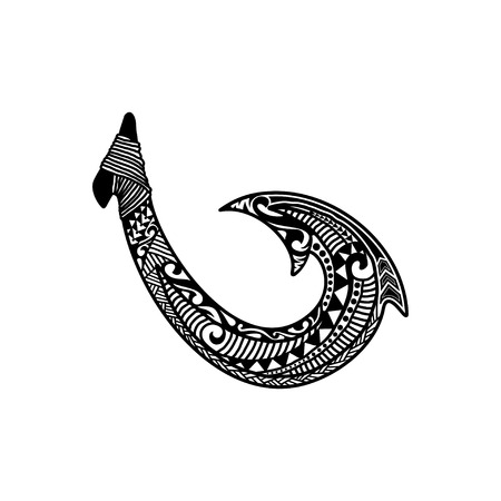 Illustration for Hand drawn hawaiian fish hook logo design inspiration isolated on white background - Royalty Free Image