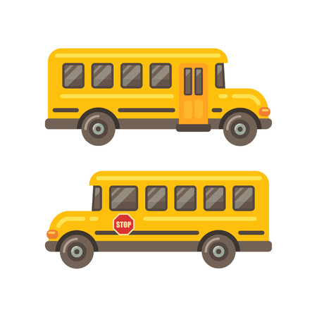 Illustration for Yellow school bus side views flat illustration on white background - Royalty Free Image