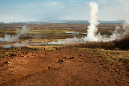 steam eruption of strokkur heysir in haukadalur geothermal area iceland