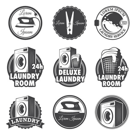 Set of vintage laundry emblems, labels and designed elements