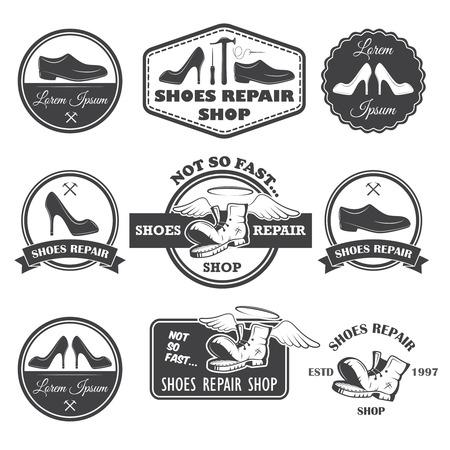 Set of vintage shoes repair labels, emblems and designed elements