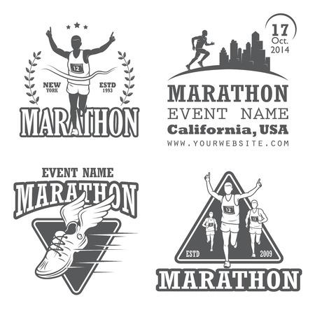Set of running marathon and jogging emblems, labels and badges.