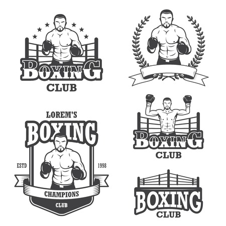 Set of vintage boxing emblems, labels, badges, icons and designed elements. Monochrome style