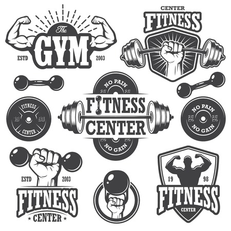 Foto de Second set of monochrome fitnes emblems, labels, badges, logos and designed elements. - Imagen libre de derechos