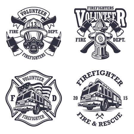 Set of firefighter emblems labels badges and  on light background. Monochrome style.