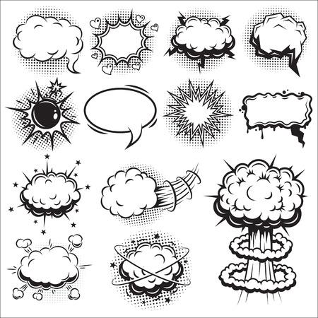 Set of comics speach and explosion bubbles. Monochrome style.