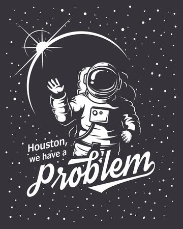 T-shirt design print. Space theme. Monochrome style