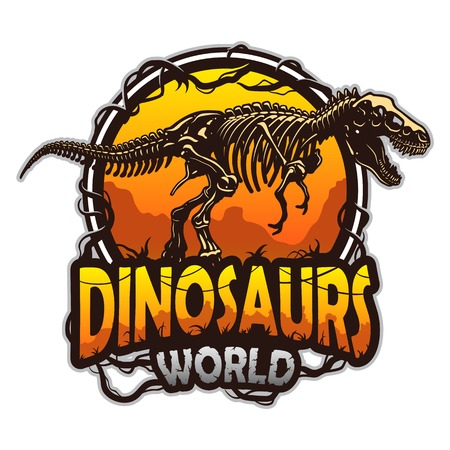 Illustration pour Dinosaurs world emblem with tyrannosaur skeleton. Colored isolated on white background - image libre de droit