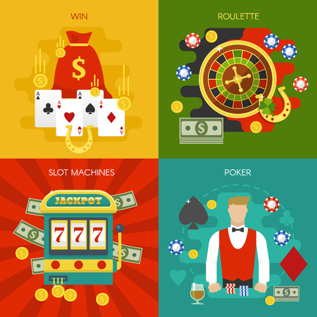 Entertainments at casino concept with slot machine winnings roulette poker dealer cards chips horseshoe isolated vector illustration