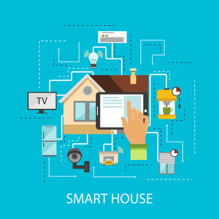 Smart house composition the presence in the house technology and the latest gadgets vector illustration