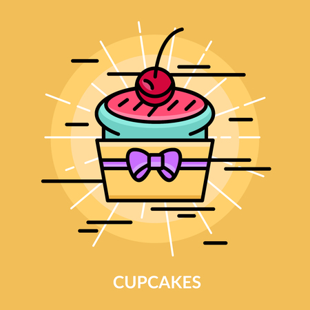 Illustration pour Sweets cupcakes poster cake is lights up with a cherry on top vector illustration - image libre de droit