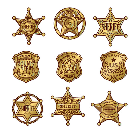 Illustration pour Golgen sheriff badges with stars and shields ribbons flourishes laurel on white background isolated vector illustration - image libre de droit