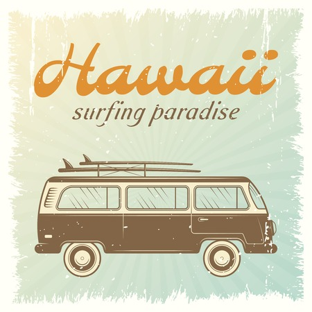 Illustration for Surfing car retro poster with bus on light blue background and headline Hawaii surfing paradise vector illustration - Royalty Free Image