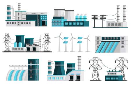 Illustration pour Set of nine isolated orthogonal power generation images of powerhouse landscape scenes transmission lines transformer pillars illustration - image libre de droit