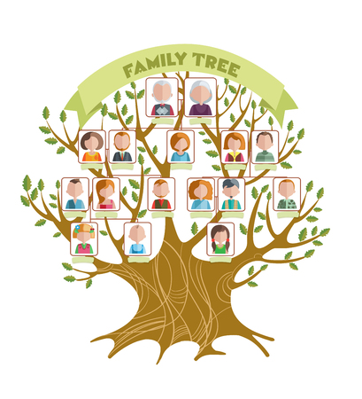 Illustration pour Concept of family tree with green ribbon and pictures of relatives on branches with leaves illustration - image libre de droit