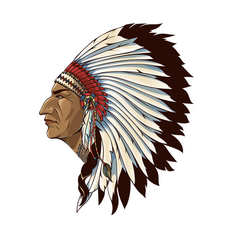 Illustration pour Single american indian in profile with tribal headdress of feathers on white background isolated illustration - image libre de droit