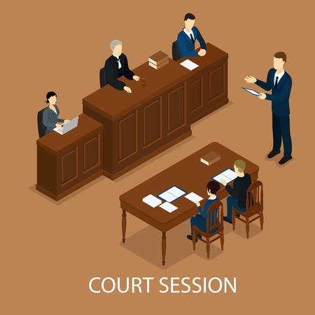 Illustration pour Isometric Judicial Session Concept - image libre de droit