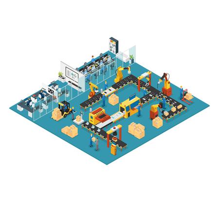 Ilustración de Isometric Industrial Factory Concept - Imagen libre de derechos