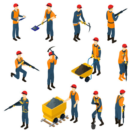 Illustration for Isometric Miners Set - Royalty Free Image