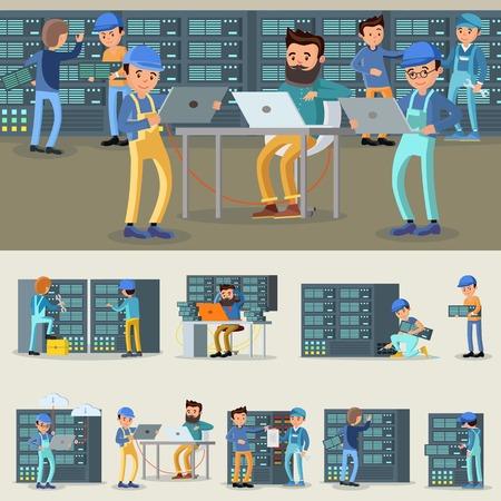 Illustration pour Datacenter Professional Workers Collection - image libre de droit