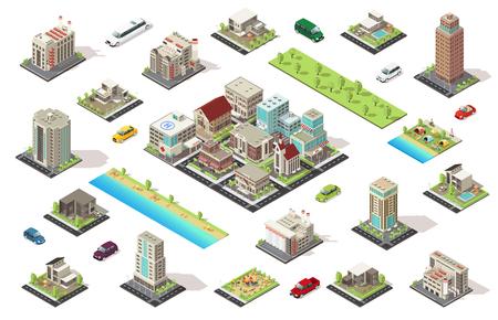 Ilustración de Isometric City Constructor Elements Set - Imagen libre de derechos