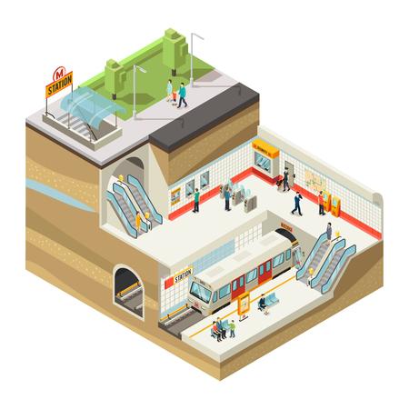 Illustration pour Isometric Underground Station Concept - image libre de droit