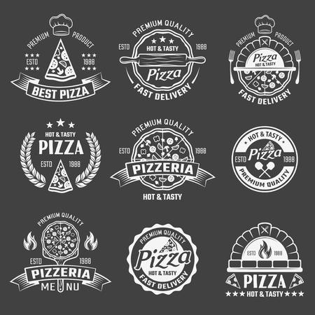 Pizza Monochrome Emblems Set