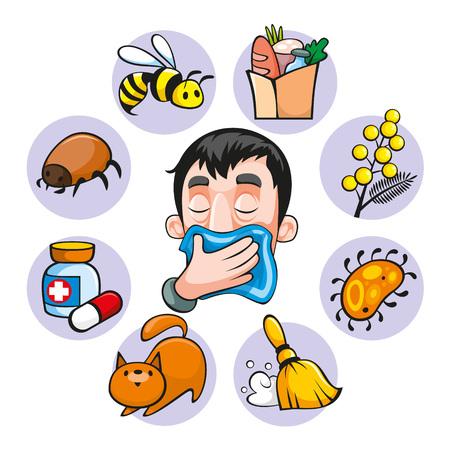 Ilustración de Cartoon Colorful Allergy Set - Imagen libre de derechos