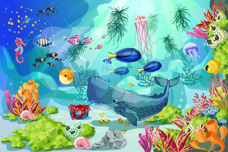 Cartoon Colorful Marine Underwater Life Background