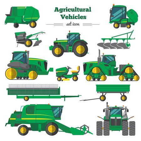 Ilustración de Agricultural Vehicles Flat Icons Set vector illustration. - Imagen libre de derechos