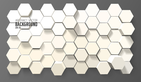 Illustration pour Abstract geometric background with 3d white hexagons in minimalistic style vector illustration - image libre de droit