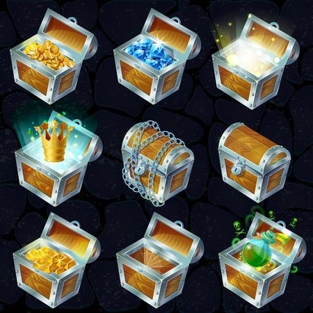 Illustration pour Isometric Treasure Chests Collection - image libre de droit