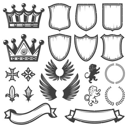 Ilustración de Vintage Monochrome Heraldic Elements Collection - Imagen libre de derechos