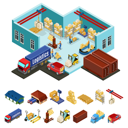 Ilustración de Isometric warehouse concept with loading process in industrial area of storage and logistic icons isolated vector illustration - Imagen libre de derechos