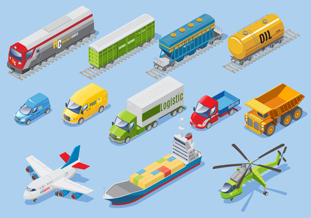 Ilustración de Isometric logistic transportation set with various type of transportations - Imagen libre de derechos