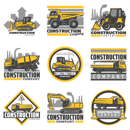 Vintage colored construction vehicles emblems set with bulldozer excavator concrete mixer dump building trucks isolated vector illustration