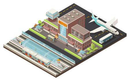 Illustration pour Isometric airport and metro station concept with buildings plane bus walking people train underground platform vector illustration - image libre de droit
