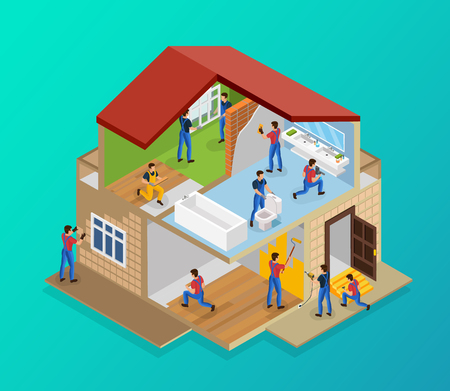 Illustration pour Isometric house renovation template with workers laying tiles flooring laminate painting walls repairing threshold installing windows plumbing vector illustration - image libre de droit