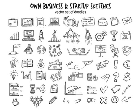 Ilustración de Sketch business startup elements collection with doodle financial icons tools objects and equipment isolated vector illustration. - Imagen libre de derechos
