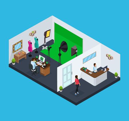 Illustration pour Isometric studio concept vector illustration - image libre de droit