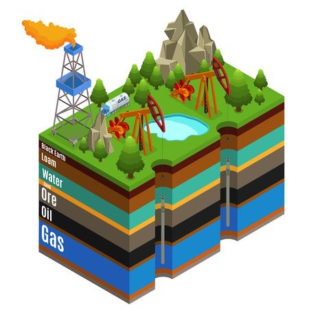 Ilustración de Isometric gas extraction concept with derricks rig truck and different layers of soil isolated vector illustration - Imagen libre de derechos
