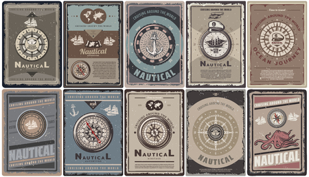 Vintage colored nautical brochures set with text different navigational compasses anchors ships map captain hat octopus isolated vector illustration