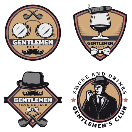 f205e2bcd2e Vintage colored gentleman emblems set with stylish man drink cigar glasses  mustache smoking pipes hat isolated