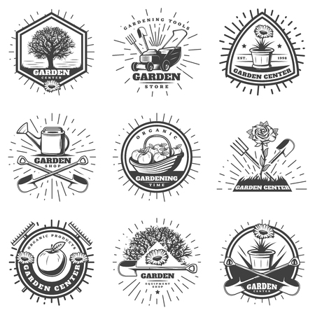 Ilustración de Vintage monochrome gardening logos set with agricultural equipment labor tools apple tree flowers sunbursts isolated vector illustration - Imagen libre de derechos