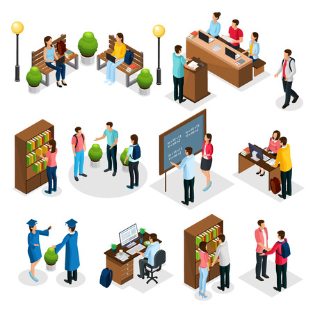 Illustration pour Isometric students in university set with graduates people learning reading taking examination visiting library lecture doing homework isolated vector illustration - image libre de droit