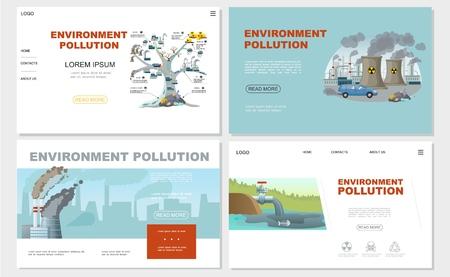 Ilustración de Flat environment pollution websites set with chimneys factory ecology contamination tree and oil in pond vector illustration - Imagen libre de derechos