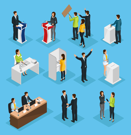 Photo pour Isometric people election set with political debates campaign voting process ballot booth candidates interview isolated vector illustration - image libre de droit